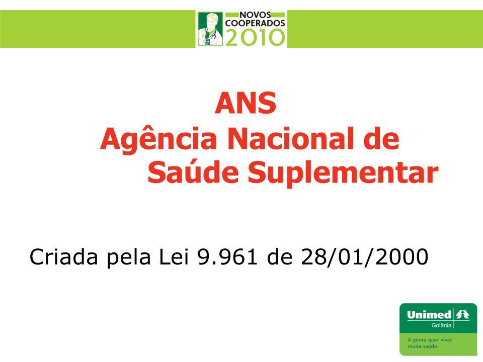 ANS Agência Nacional de Saúde Suplementar Criada pela Lei 9.961 de 28/01/2000