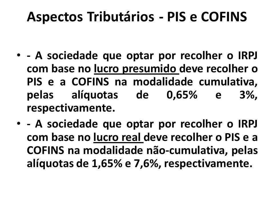 Aspectos Tributários - PIS e COFINS - A sociedade que optar por recolher o IRPJ com base no lucro presumido deve recolher o PIS e a COFINS na modalida