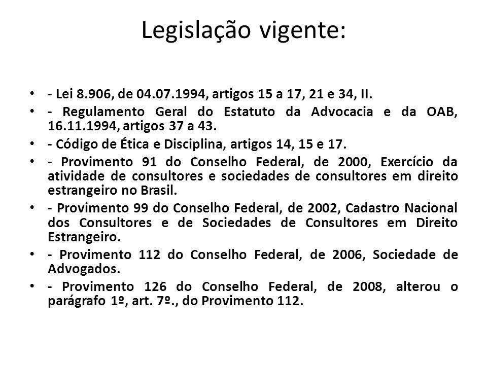 Legislação vigente: - Lei 8.906, de 04.07.1994, artigos 15 a 17, 21 e 34, II. - Regulamento Geral do Estatuto da Advocacia e da OAB, 16.11.1994, artig