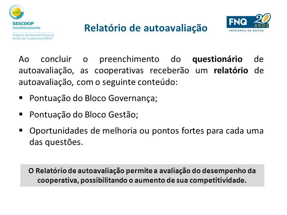 Relatório de autoavaliação Ao concluir o preenchimento do questionário de autoavaliação, as cooperativas receberão um relatório de autoavaliação, com