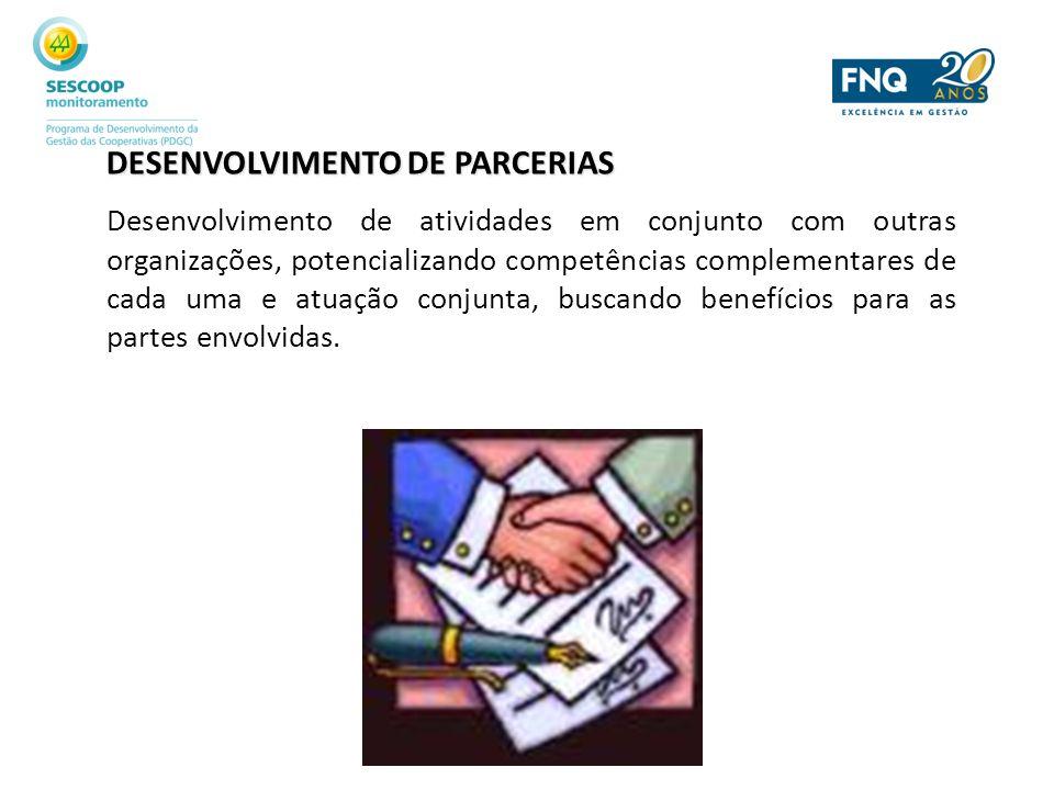 DESENVOLVIMENTO DE PARCERIAS Desenvolvimento de atividades em conjunto com outras organizações, potencializando competências complementares de cada um