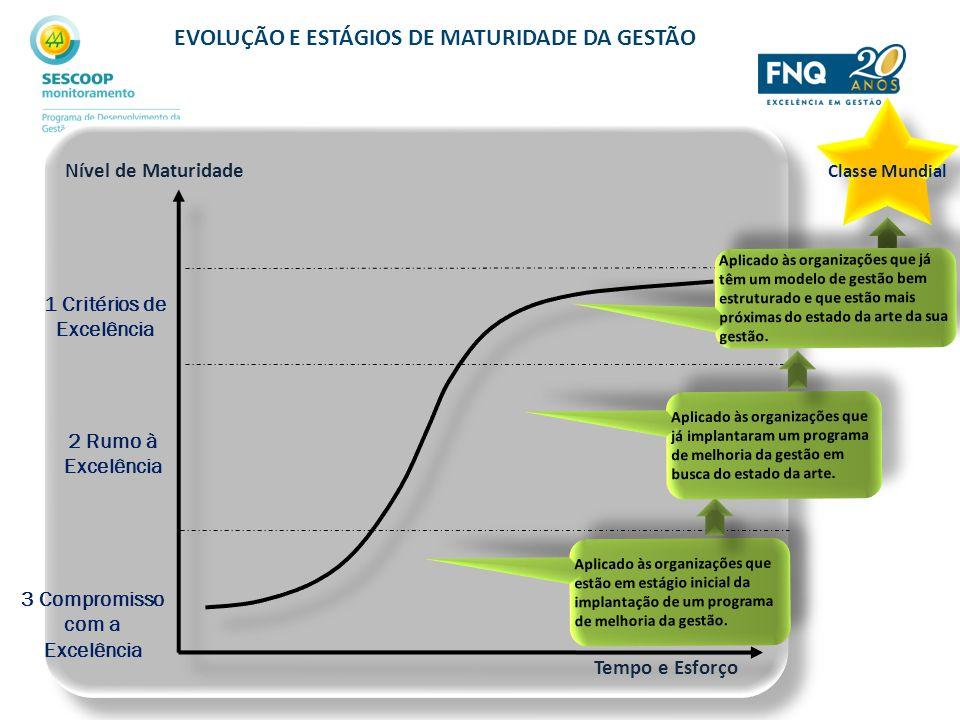 EVOLUÇÃO E ESTÁGIOS DE MATURIDADE DA GESTÃO Tempo e Esforço Nível de Maturidade 1 Critérios de Excelência 3 Compromisso com a Excelência 2 Rumo à Exce