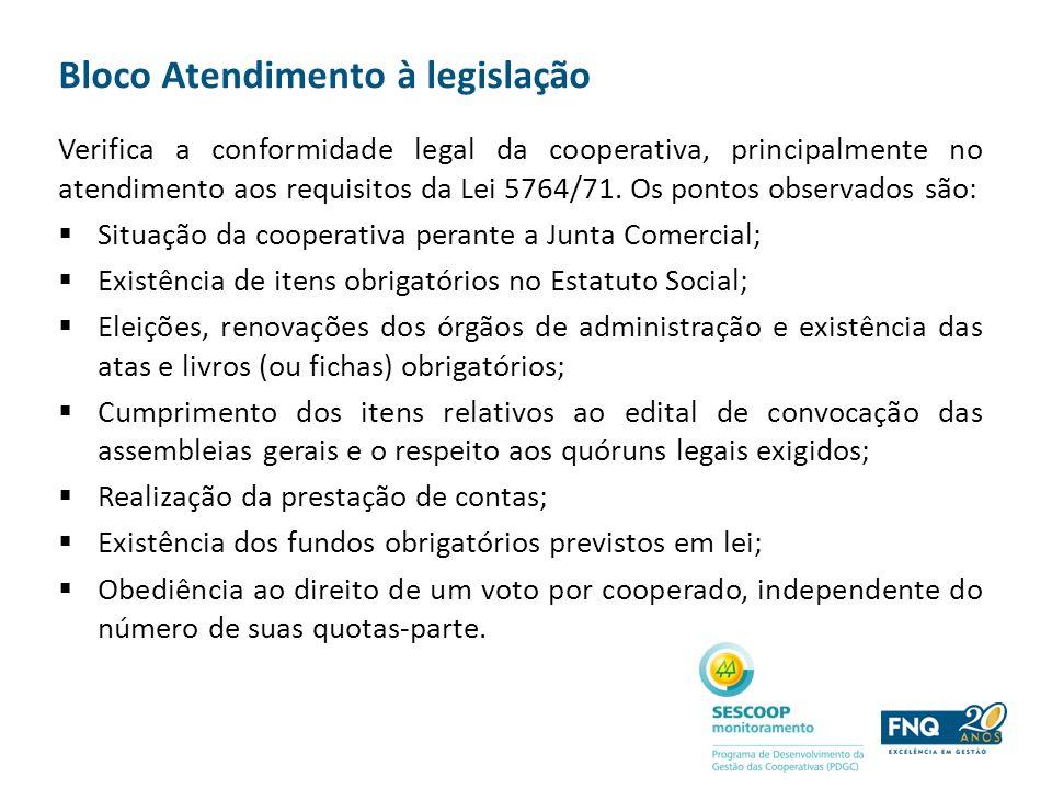 Bloco Atendimento à legislação Verifica a conformidade legal da cooperativa, principalmente no atendimento aos requisitos da Lei 5764/71. Os pontos ob