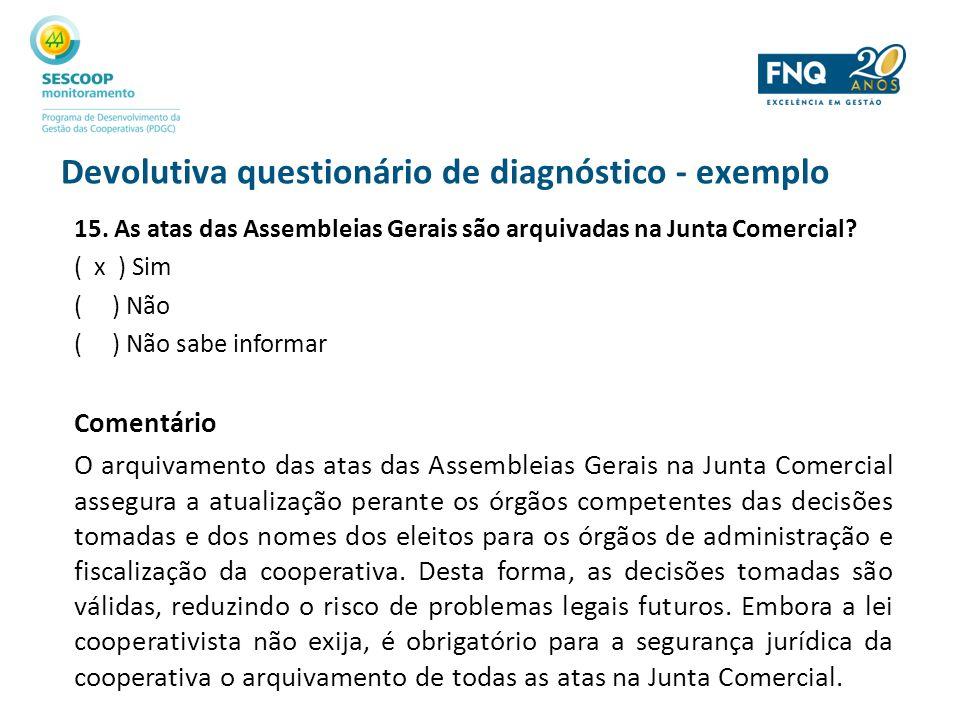 Devolutiva questionário de diagnóstico - exemplo 15. As atas das Assembleias Gerais são arquivadas na Junta Comercial? ( x ) Sim ( ) Não ( ) Não sabe