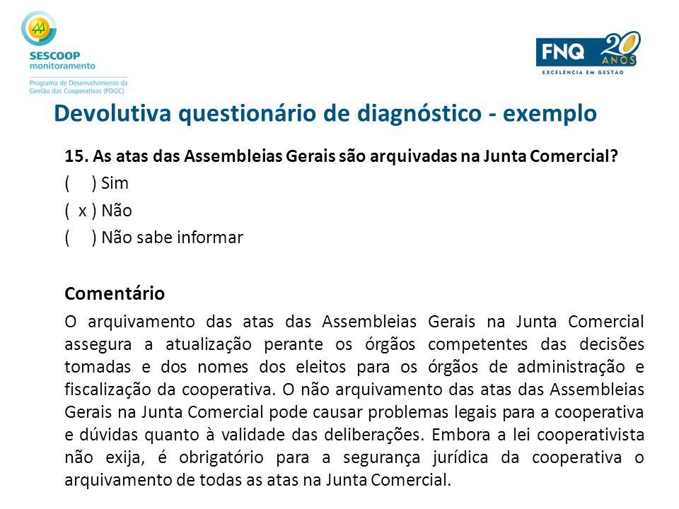 Devolutiva questionário de diagnóstico - exemplo 15. As atas das Assembleias Gerais são arquivadas na Junta Comercial? ( ) Sim ( x ) Não ( ) Não sabe