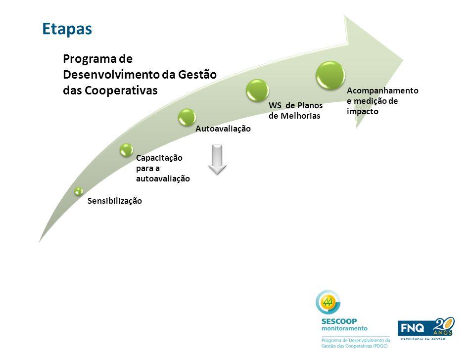 Papéis e atribuições SERVIÇO NACIONAL DE APRENDIZAGEM DO COOPERATIVISMO (SESCOOP) - Mobilização e sensibilização - Promoção social - Capacitação - Monitoramento e desenvolvimento FUNDAÇÃO NACIONAL DA QUALIDAE (FNQ) - Desenvolvimento de metodologia e ferramentas de suporte - Capacitação - Mapeamento das Boas Práticas de Gestão - Desenvolvimento do processo de premiação COMITÊ EXECUTIVO - Definição e acompanhamento das etapas e do cronograma físico-financeiro COMITÊ DE GESTÃO -Desenvolvimento do modelo de avaliação da gestão das cooperativas associadas ao SESCOOP, com base no Modelo de Excelência da Gestão®, incluindo as características, princípios, ramos e leis do cooperativismo.