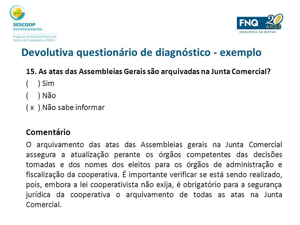 Devolutiva questionário de diagnóstico - exemplo 15. As atas das Assembleias Gerais são arquivadas na Junta Comercial? ( ) Sim ( ) Não ( x ) Não sabe