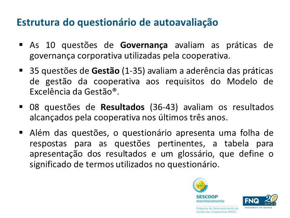 Estrutura do questionário de autoavaliação As 10 questões de Governança avaliam as práticas de governança corporativa utilizadas pela cooperativa. 35