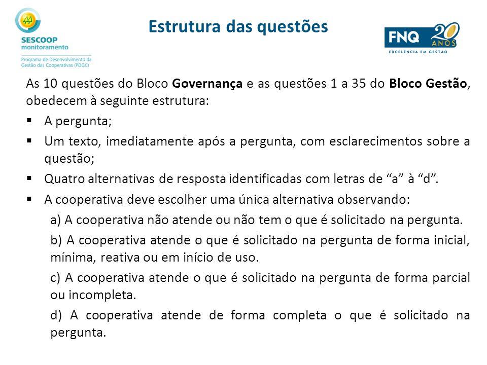 Estrutura das questões As 10 questões do Bloco Governança e as questões 1 a 35 do Bloco Gestão, obedecem à seguinte estrutura: A pergunta; Um texto, i