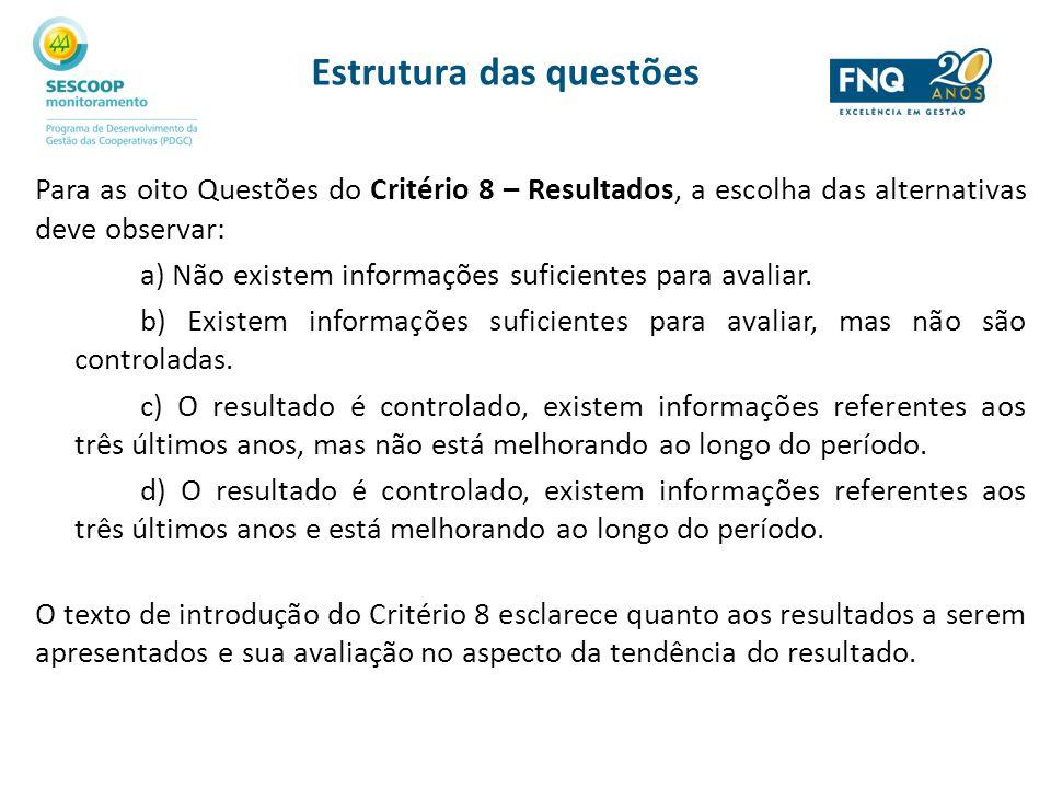 Estrutura das questões Para as oito Questões do Critério 8 – Resultados, a escolha das alternativas deve observar: a) Não existem informações suficien