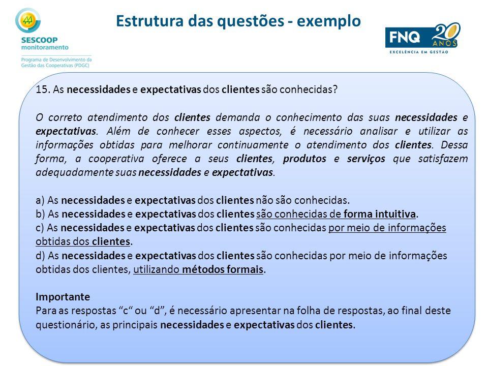 15. As necessidades e expectativas dos clientes são conhecidas? O correto atendimento dos clientes demanda o conhecimento das suas necessidades e expe