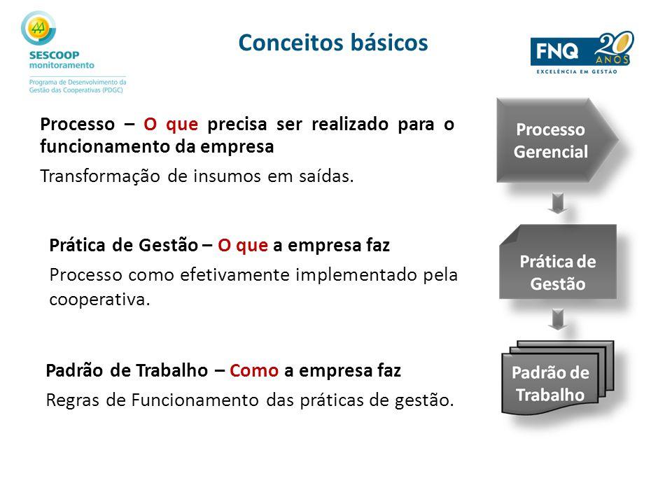 Processo – O que precisa ser realizado para o funcionamento da empresa Transformação de insumos em saídas. Prática de Gestão – O que a empresa faz Pro