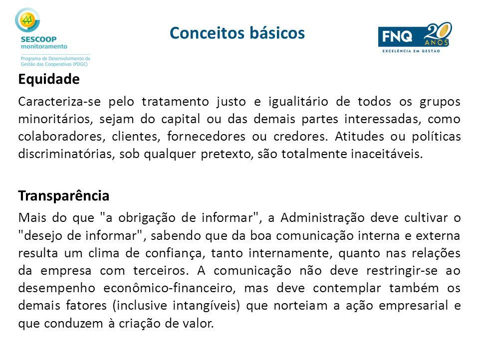 Conceitos básicos Equidade Caracteriza-se pelo tratamento justo e igualitário de todos os grupos minoritários, sejam do capital ou das demais partes i