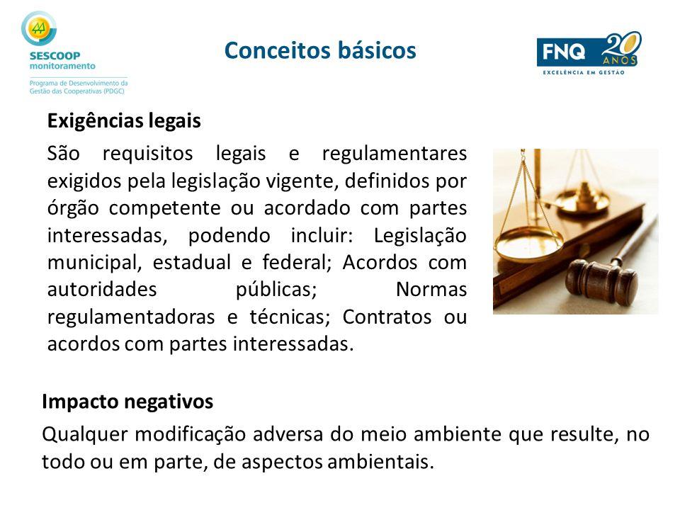 Conceitos básicos Exigências legais São requisitos legais e regulamentares exigidos pela legislação vigente, definidos por órgão competente ou acordad