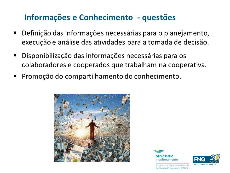 Informações e Conhecimento - questões Definição das informações necessárias para o planejamento, execução e análise das atividades para a tomada de de