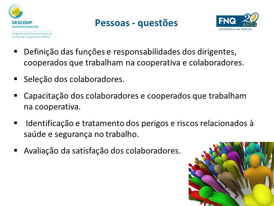Pessoas - questões Definição das funções e responsabilidades dos dirigentes, cooperados que trabalham na cooperativa e colaboradores. Seleção dos cola