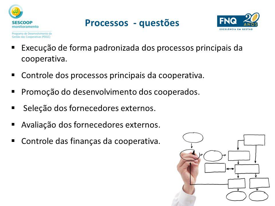 Processos - questões Execução de forma padronizada dos processos principais da cooperativa. Controle dos processos principais da cooperativa. Promoção