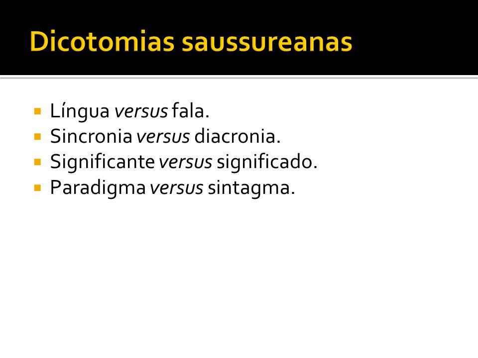 Língua versus fala. Sincronia versus diacronia. Significante versus significado. Paradigma versus sintagma.