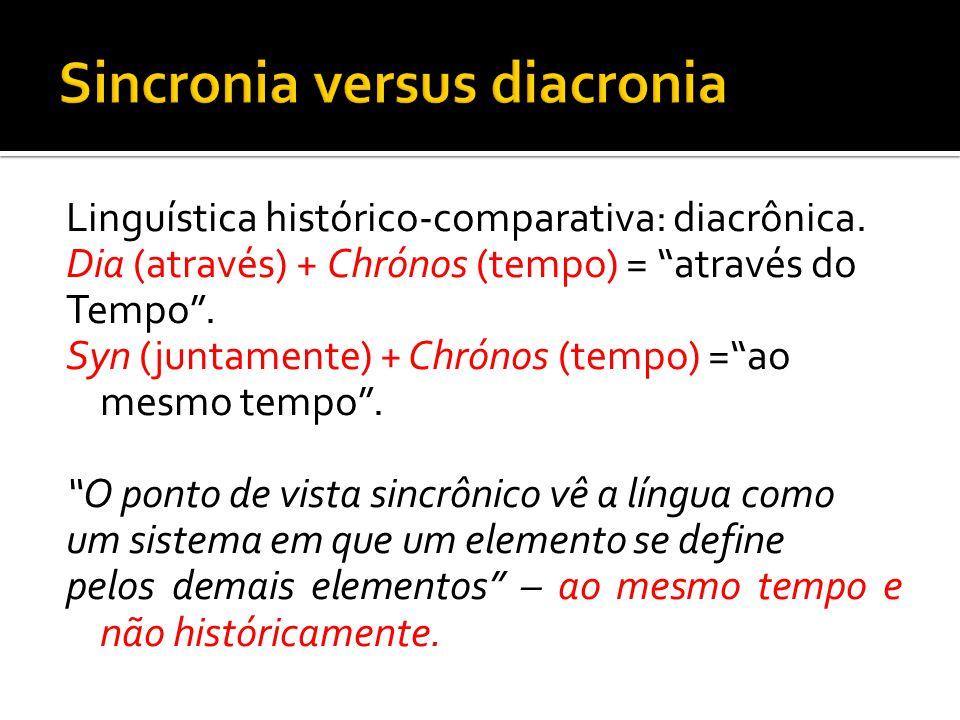 Linguística histórico-comparativa: diacrônica. Dia (através) + Chrónos (tempo) = através do Tempo. Syn (juntamente) + Chrónos (tempo) =ao mesmo tempo.