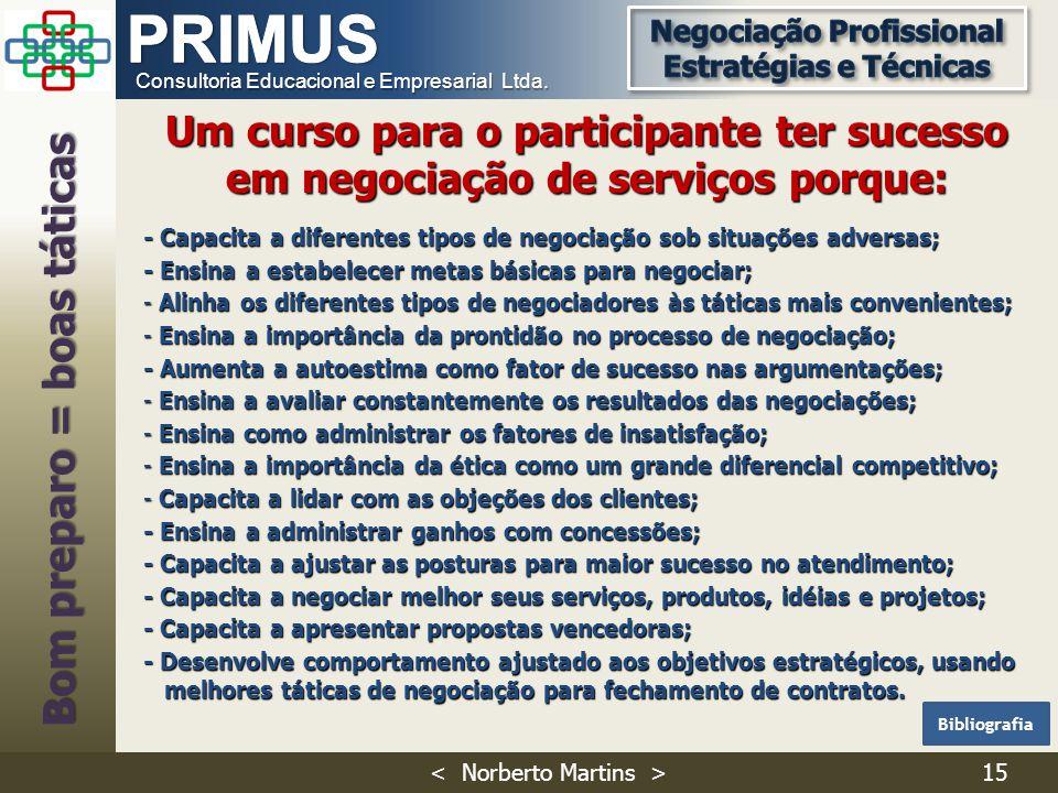 Consultoria Educacional e Empresarial Ltda. - Capacita a diferentes tipos de negociação sob situações adversas; - Ensina a estabelecer metas básicas p