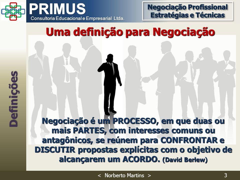 Consultoria Educacional e Empresarial Ltda. Negociação é um PROCESSO, em que duas ou mais PARTES, com interesses comuns ou antagônicos, se reúnem para