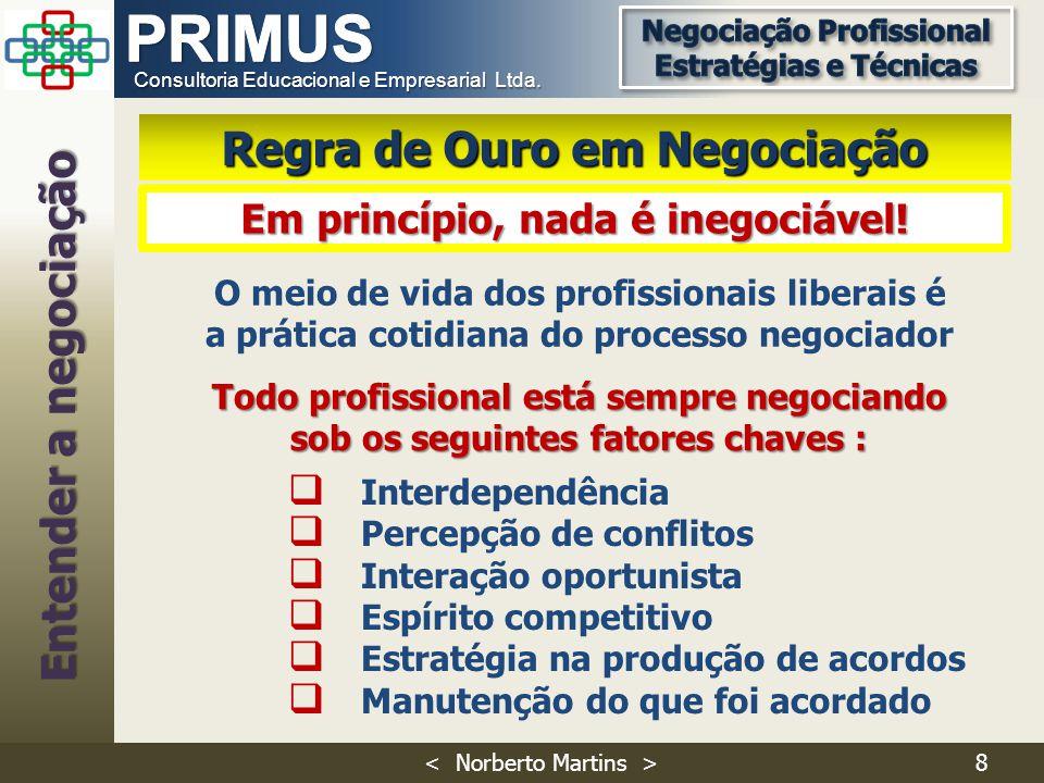 Consultoria Educacional e Empresarial Ltda. Todo profissional está sempre negociando sob os seguintes fatores chaves : O meio de vida dos profissionai