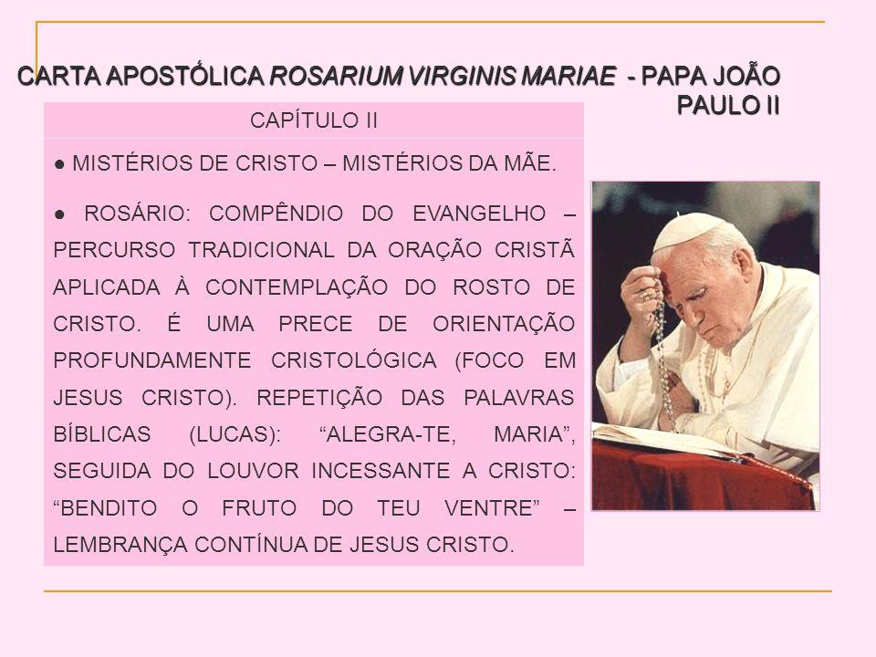 CARTA APOSTÓLICA ROSARIUM VIRGINIS MARIAE - PAPA JOÃO PAULO II CAPÍTULO II MISTÉRIOS DE CRISTO – MISTÉRIOS DA MÃE. ROSÁRIO: COMPÊNDIO DO EVANGELHO – P