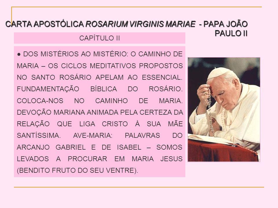 CARTA APOSTÓLICA ROSARIUM VIRGINIS MARIAE - PAPA JOÃO PAULO II CAPÍTULO II DOS MISTÉRIOS AO MISTÉRIO: O CAMINHO DE MARIA – OS CICLOS MEDITATIVOS PROPOSTOS NO SANTO ROSÁRIO APELAM AO ESSENCIAL.