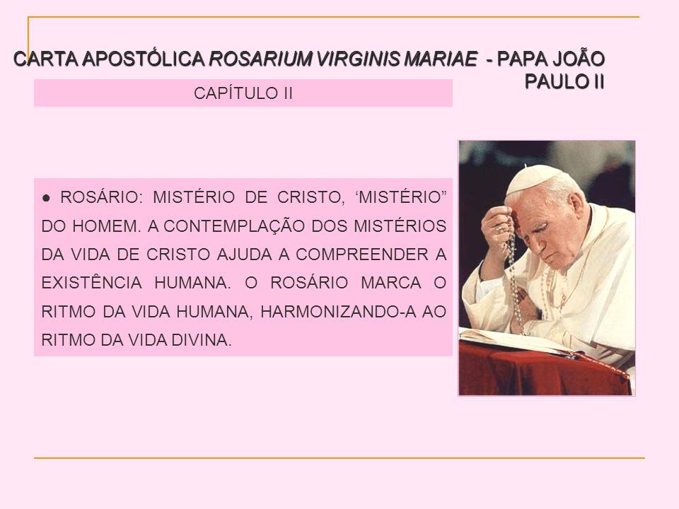 CARTA APOSTÓLICA ROSARIUM VIRGINIS MARIAE - PAPA JOÃO PAULO II CAPÍTULO II ROSÁRIO: MISTÉRIO DE CRISTO, MISTÉRIO DO HOMEM. A CONTEMPLAÇÃO DOS MISTÉRIO