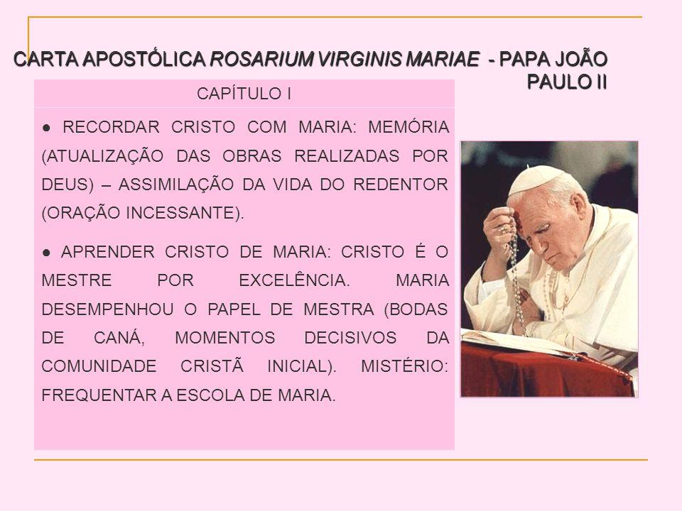 CARTA APOSTÓLICA ROSARIUM VIRGINIS MARIAE - PAPA JOÃO PAULO II CAPÍTULO I RECORDAR CRISTO COM MARIA: MEMÓRIA (ATUALIZAÇÃO DAS OBRAS REALIZADAS POR DEUS) – ASSIMILAÇÃO DA VIDA DO REDENTOR (ORAÇÃO INCESSANTE).
