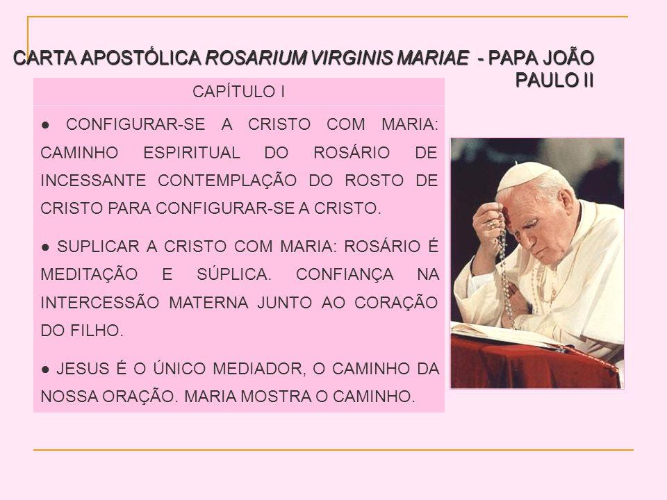 CARTA APOSTÓLICA ROSARIUM VIRGINIS MARIAE - PAPA JOÃO PAULO II CAPÍTULO I CONFIGURAR-SE A CRISTO COM MARIA: CAMINHO ESPIRITUAL DO ROSÁRIO DE INCESSANTE CONTEMPLAÇÃO DO ROSTO DE CRISTO PARA CONFIGURAR-SE A CRISTO.