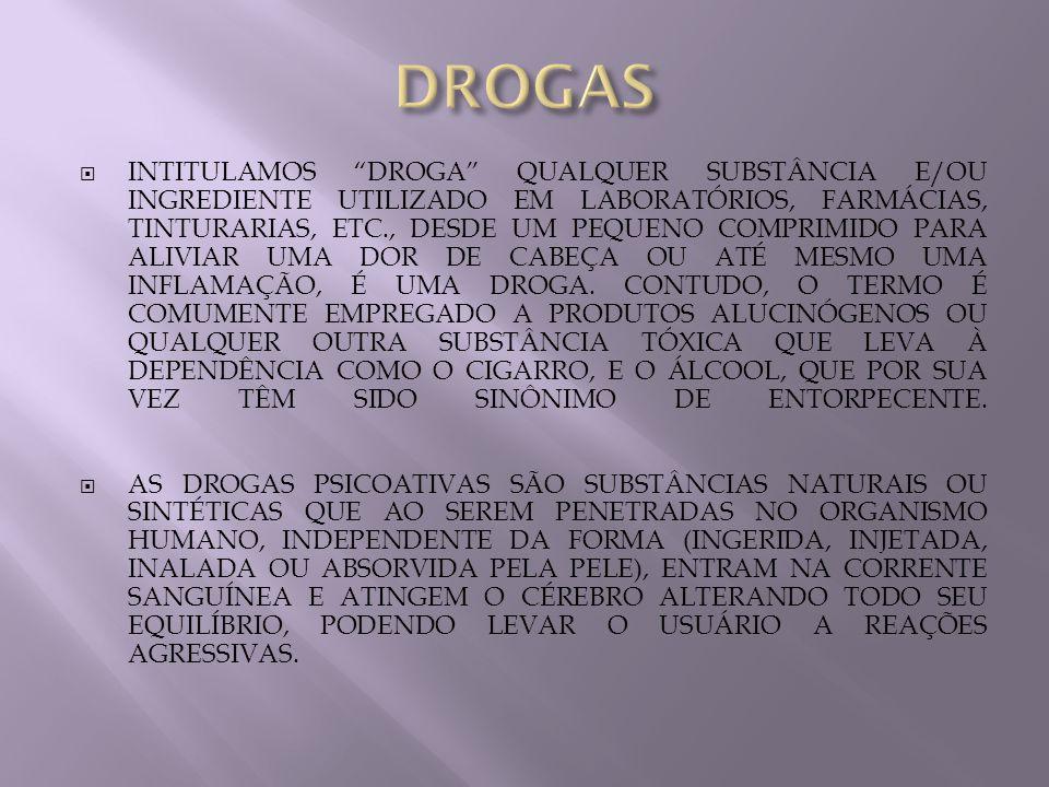 INTITULAMOS DROGA QUALQUER SUBSTÂNCIA E/OU INGREDIENTE UTILIZADO EM LABORATÓRIOS, FARMÁCIAS, TINTURARIAS, ETC., DESDE UM PEQUENO COMPRIMIDO PARA ALIVI