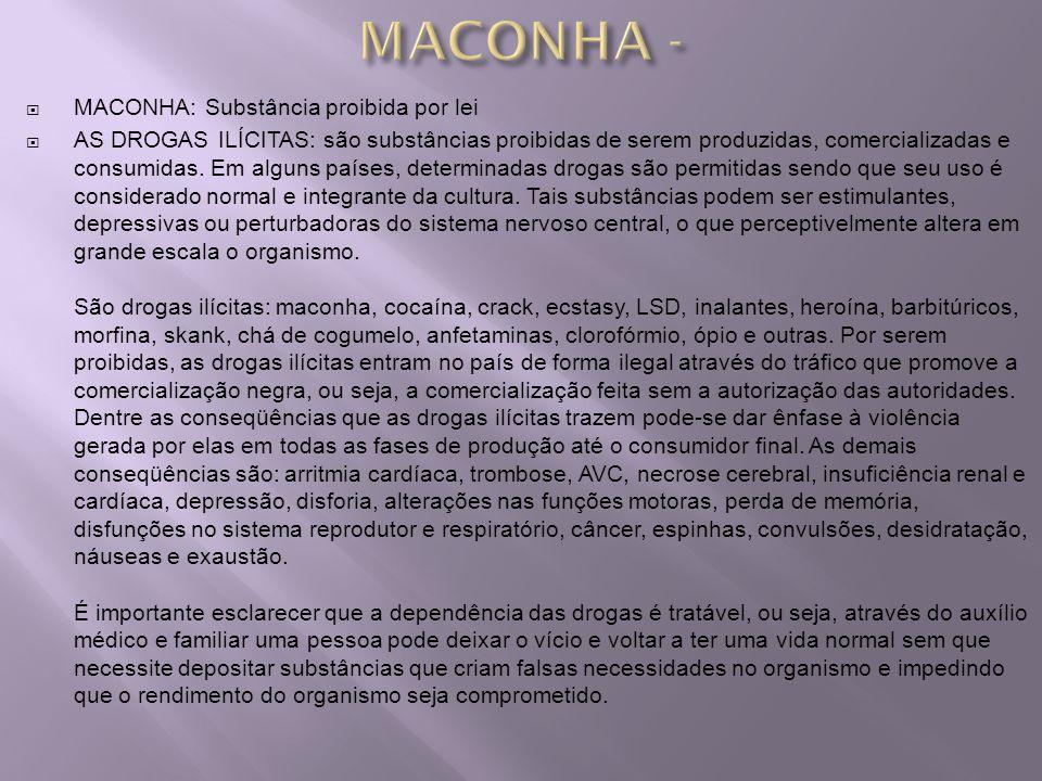 MACONHA: Substância proibida por lei AS DROGAS ILÍCITAS: são substâncias proibidas de serem produzidas, comercializadas e consumidas. Em alguns países