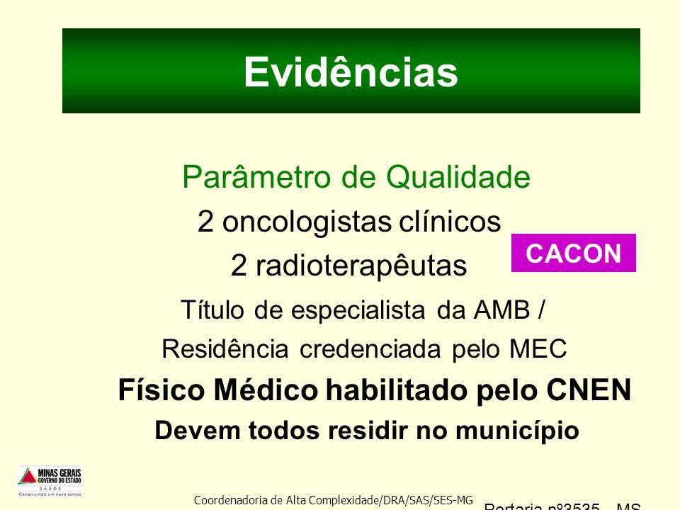 Evidências Parâmetro de Qualidade 2 oncologistas clínicos 2 radioterapêutas Título de especialista da AMB / Residência credenciada pelo MEC Físico Méd
