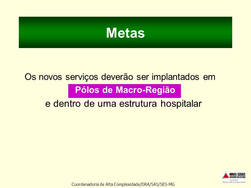 Metas Os novos serviços deverão ser implantados em Pólos de Macro-Região e dentro de uma estrutura hospitalar Coordenadoria de Alta Complexidade/DRA/S