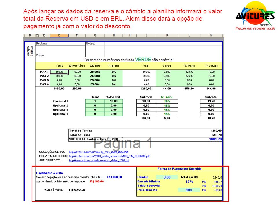 Após lançar os dados da reserva e o câmbio a planilha informará o valor total da Reserva em USD e em BRL. Além disso dará a opção de pagamento já com