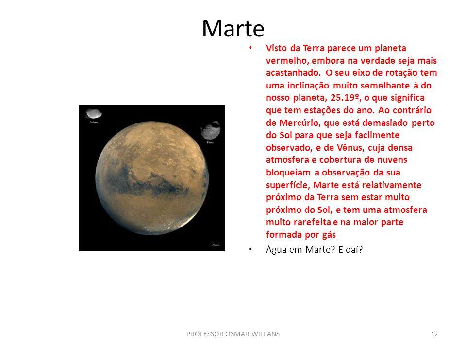 Marte Visto da Terra parece um planeta vermelho, embora na verdade seja mais acastanhado. O seu eixo de rotação tem uma inclinação muito semelhante à