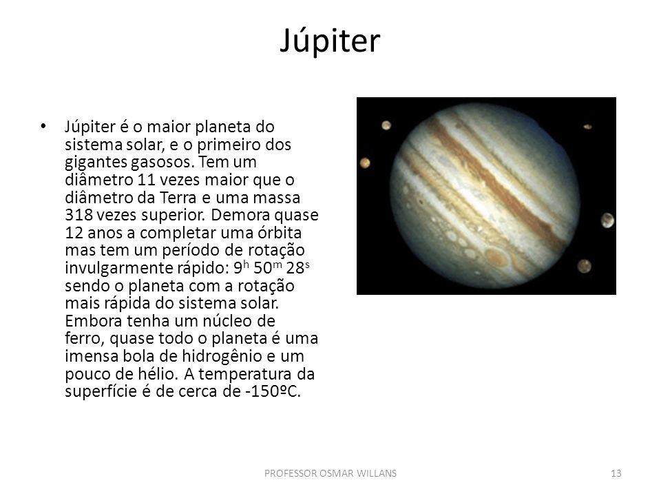 Júpiter Júpiter é o maior planeta do sistema solar, e o primeiro dos gigantes gasosos. Tem um diâmetro 11 vezes maior que o diâmetro da Terra e uma ma