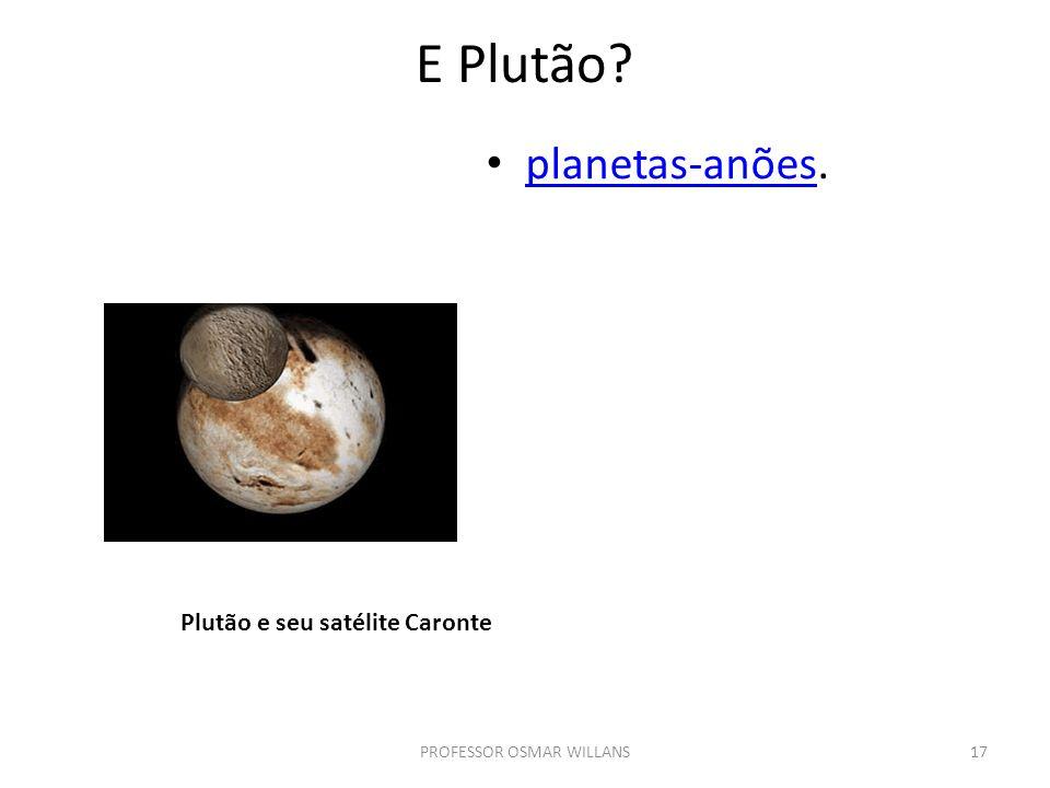E Plutão? planetas-anões. planetas-anões PROFESSOR OSMAR WILLANS17 Plutão e seu satélite Caronte