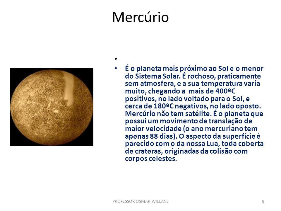 Mercúrio É o planeta mais próximo ao Sol e o menor do Sistema Solar. É rochoso, praticamente sem atmosfera, e a sua temperatura varia muito, chegando