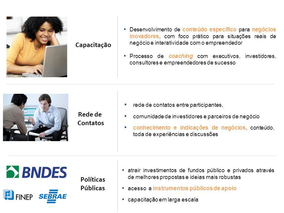 Desenvolvimento de conteúdo específico para negócios inovadores, com foco prático para situações reais de negócio e interatividade com o empreendedor Processo de coaching com executivos, investidores, consultores e empreendedores de sucesso rede de contatos entre participantes, comunidade de investidores e parceiros de negócio conhecimento e indicações de negócios, conteúdo, toda de experiências e discussões atrair investimentos de fundos público e privados através de melhores propostas e ideias mais robustas acesso a instrumentos públicos de apoio capacitação em larga escala Capacitação Rede de Contatos Políticas Públicas