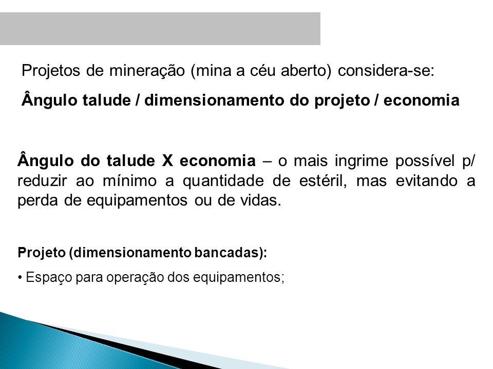 Projetos de mineração (mina a céu aberto) considera-se: Ângulo talude / dimensionamento do projeto / economia Ângulo do talude X economia – o mais ing