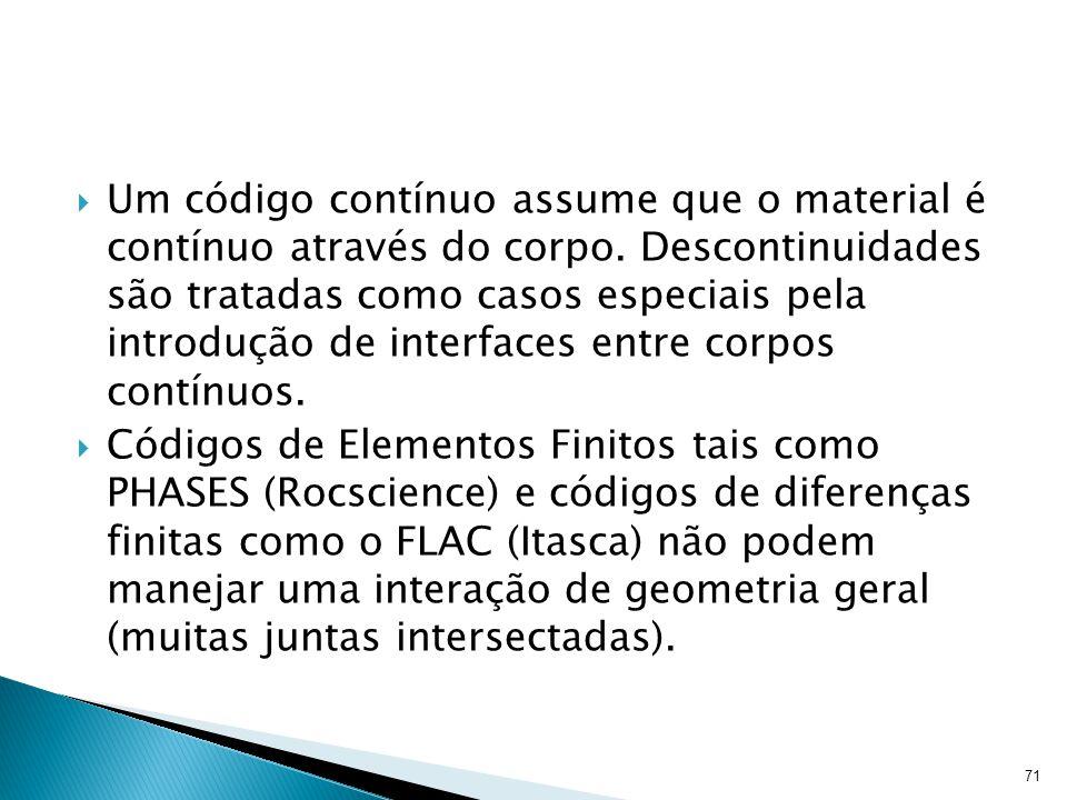 Um código contínuo assume que o material é contínuo através do corpo. Descontinuidades são tratadas como casos especiais pela introdução de interfaces