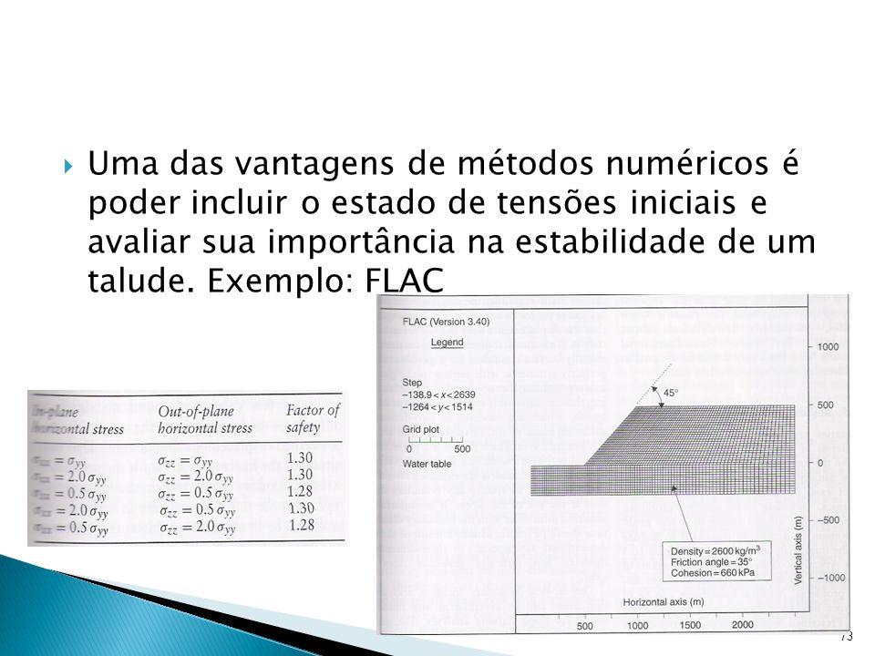 Uma das vantagens de métodos numéricos é poder incluir o estado de tensões iniciais e avaliar sua importância na estabilidade de um talude. Exemplo: F