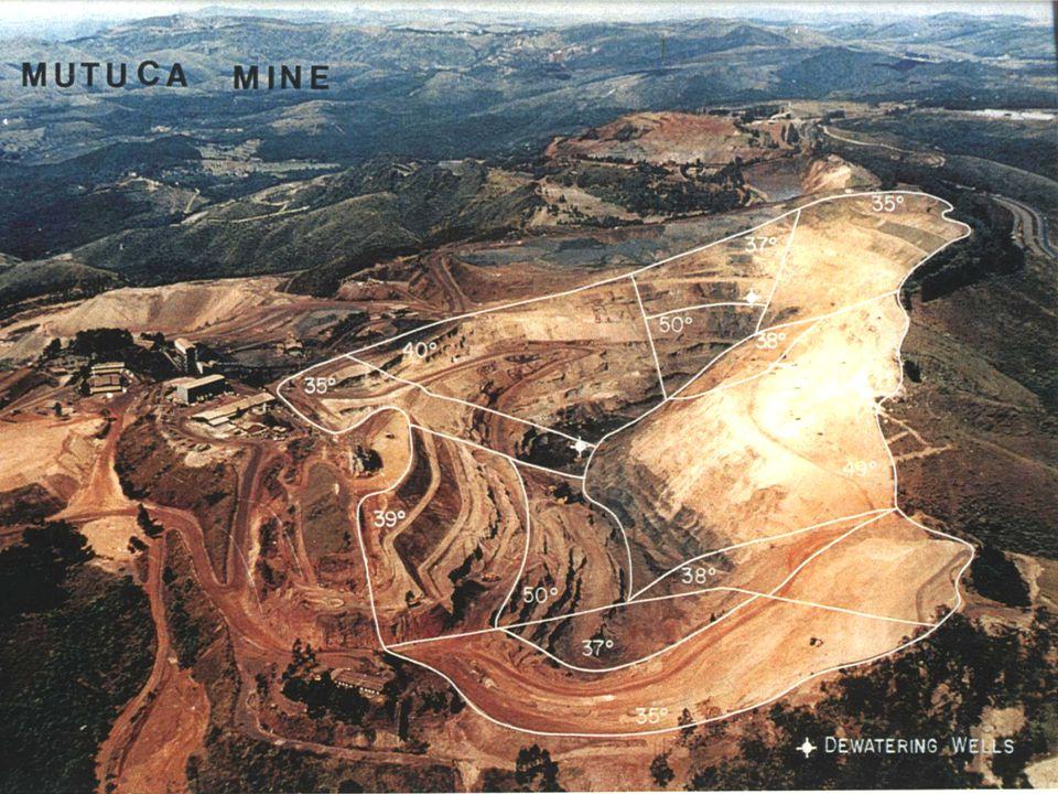 Projetos de mineração (mina a céu aberto) considera-se: Ângulo talude / dimensionamento do projeto / economia Ângulo do talude X economia – o mais ingrime possível p/ reduzir ao mínimo a quantidade de estéril, mas evitando a perda de equipamentos ou de vidas.