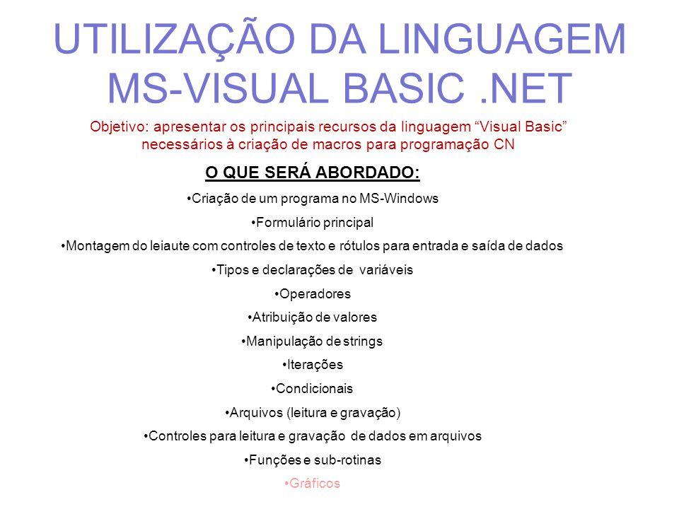 PROGRAMAÇÃO EM MS VISUAL BASIC Baseada em elementos gráficos (controles) e, atualmente, com recursos para programação orientada por objetos Possibilita o desenvolvimento de aplicativos para Windows com baixo custo e tempo Versões disponíveis: VB5; VB6;.Net2003;.Net2005;.Net2008 e.Net2010 Express (gratuita)