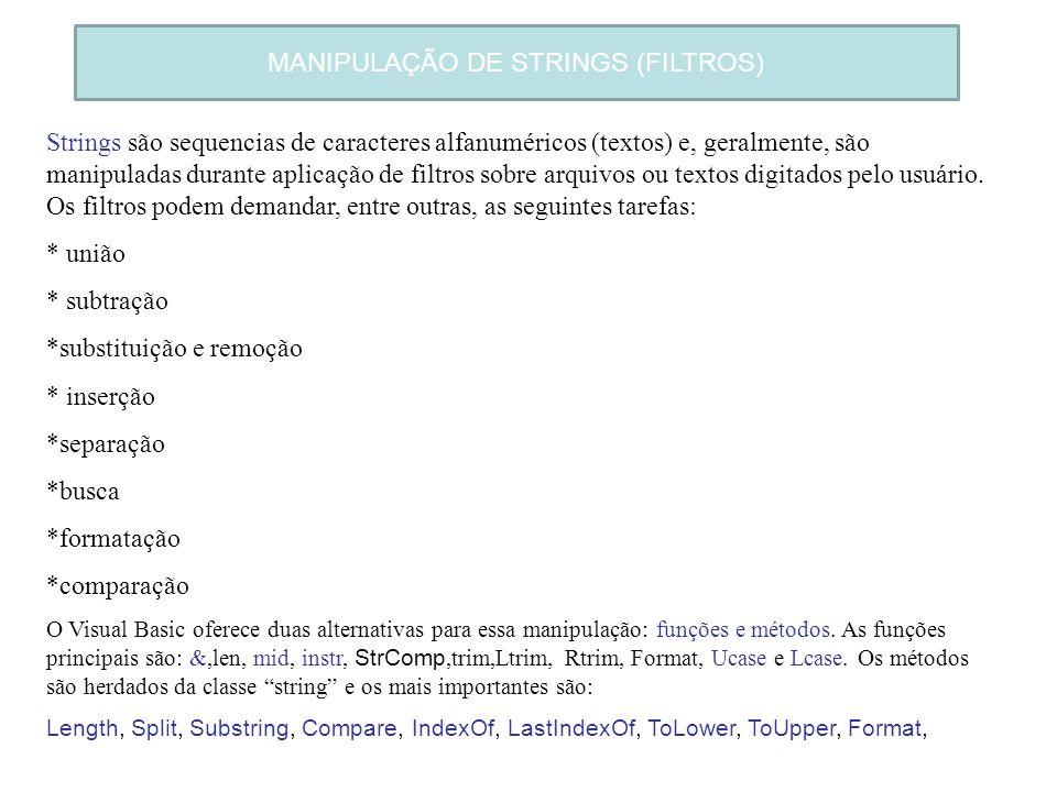 MANIPULAÇÃO DE STRINGS (FILTROS) Strings são sequencias de caracteres alfanuméricos (textos) e, geralmente, são manipuladas durante aplicação de filtr