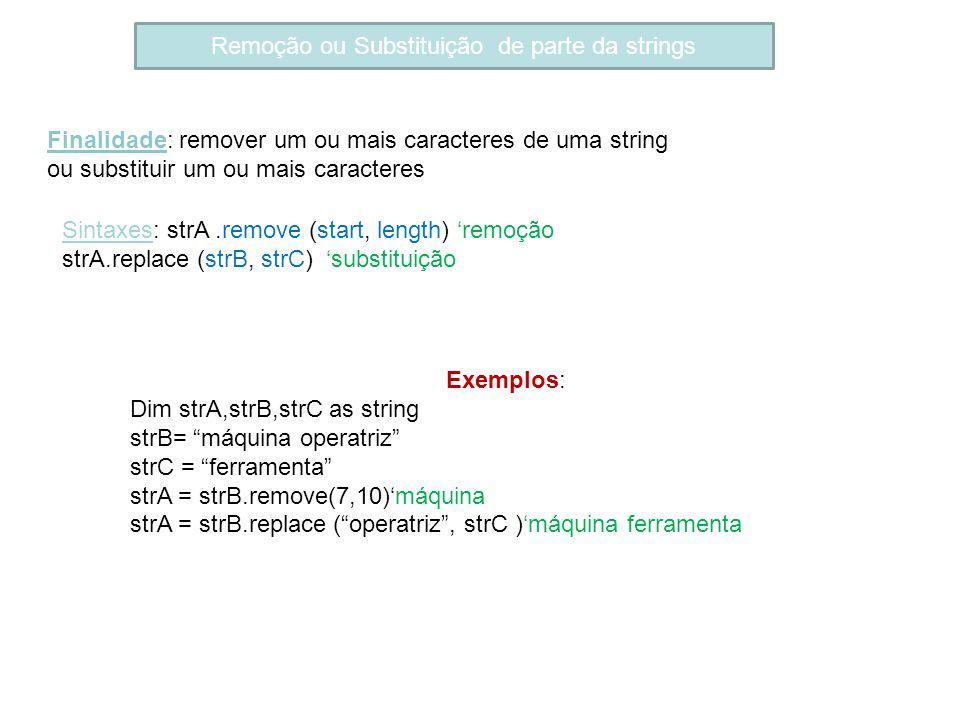 Remoção ou Substituição de parte da strings Finalidade: remover um ou mais caracteres de uma string ou substituir um ou mais caracteres Sintaxes: strA