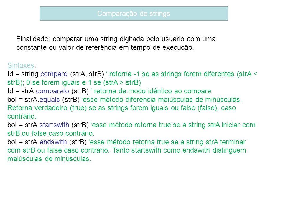 Comparação de strings Finalidade: comparar uma string digitada pelo usuário com uma constante ou valor de referência em tempo de execução. Sintaxes: I