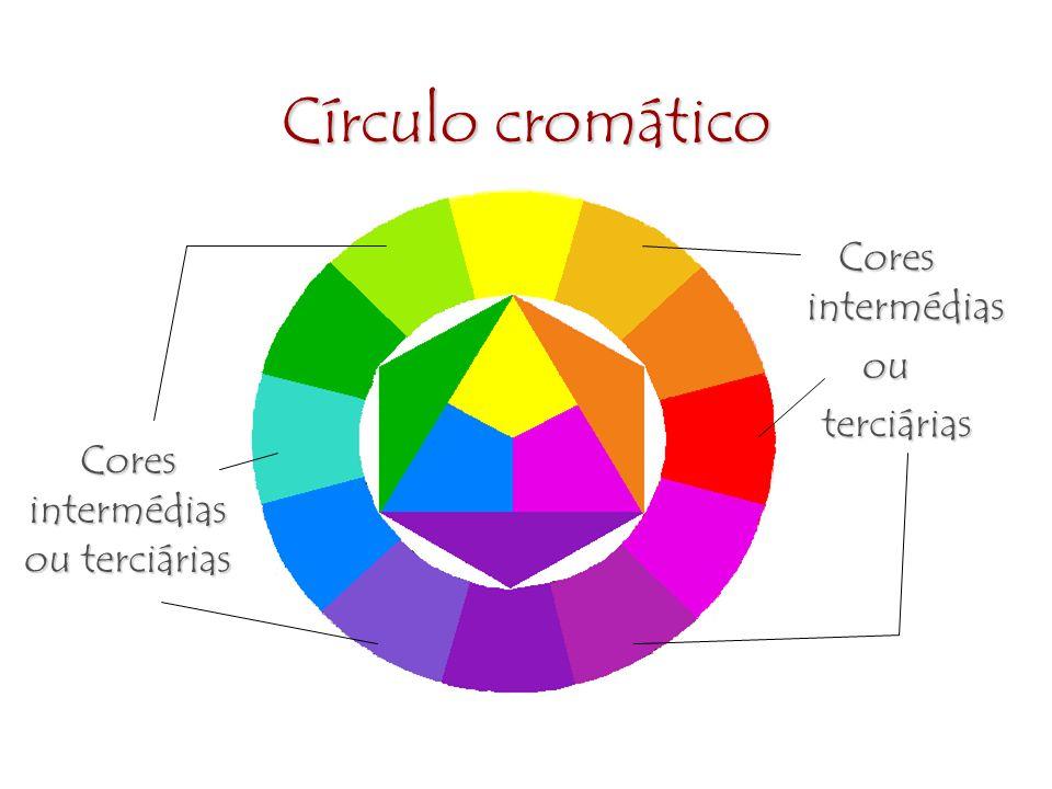 Círculo cromático Cores intermédias ou terciárias Cores intermédias ou terciárias Cores intermédias ou terciárias terciárias